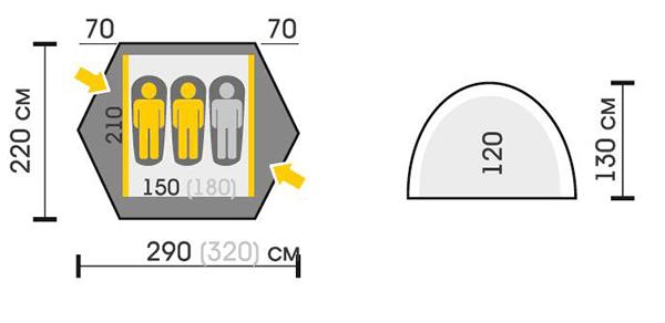 Палатка SPACE PRO 3 размеры